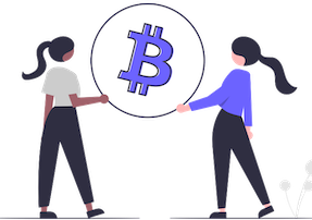 two woman holding a bitcoin sign