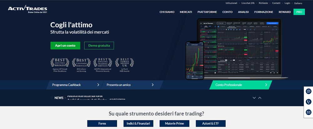 screenshot presentazione activetrades